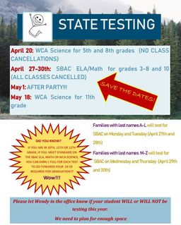 State Testing: Save the Dates!