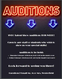 Talent Show Auditions Feb 20th and 21st!